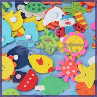 48 Colorful Baby Kids HANDCRAFT DIY Wooden Carton Fridge Magnet