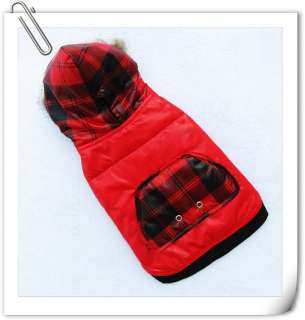 Red CHECK Fur Hoodie warm coat jacket dog pet clothes