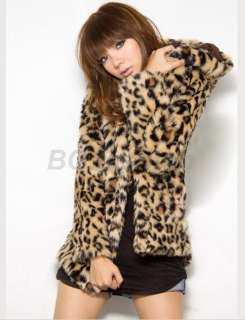 Sexy Womens Leopard Print Jacket Faux Fur Coat TOPS S