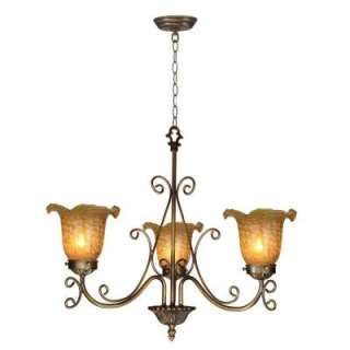 Springdale Lighting Tiffany Luster Gold Tulip 3 Light Hanging Antique