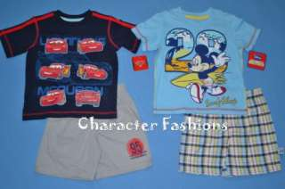 Boys CARS MICKEY MOUSE Outfit Size 2T 3T 4T Shirt Short Set DISNEY
