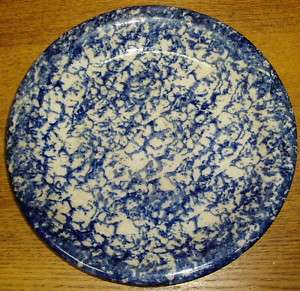 Antique Blue Spongeware Plate Chip