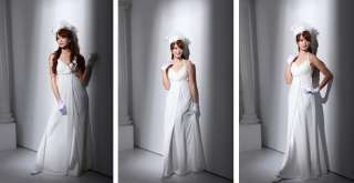 Japan Sexy Elegant Greek Goddess White Long Gown Dress