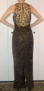 GLAM ART DECO BRONZE GOLD BEADS SILK GOWN CAGE DESIGN SCALA EVENING