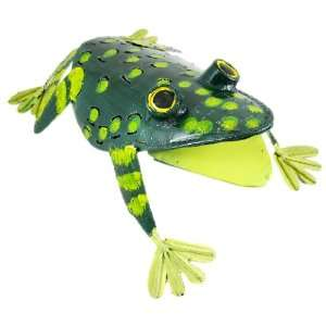 Hand Painted Metal Frog Statue Wall Hanging Art