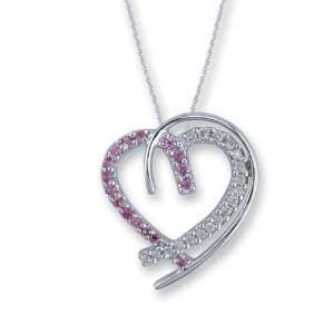 14K White Gold Diamond and Pink Sapphire Heart Pendant