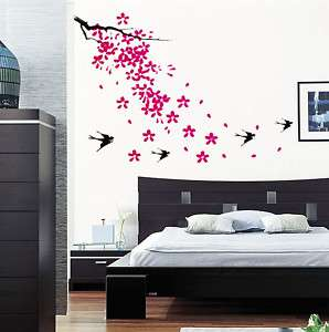 Pink Blossom Swallow Bird Removable Wall Decal Stickers