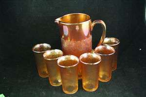 MARIGOLD TREE BARK CARNIVAL GLASS PITCHER TUMBLER SET