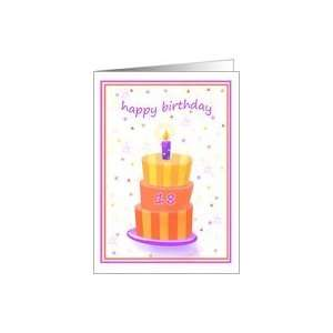 18 Years Old Happy Birthday Stacked Cake Lit Candle Card