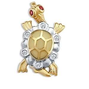 Turtle Pendant 14k White Yellow Gold Red CZ Charm Cubic