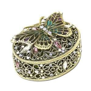 Swarovski Crystal Pave Antique Butterfly Box GAD12012