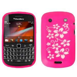 Blackberry Bold Touch Floral Silicone Case Cover Hot Pink And White