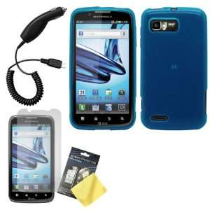 Blue Flex Gel Case / Skin / Cover, LCD Screen Protector / Guard / Film