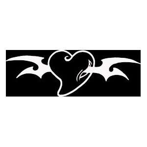 HRT (60) 6 white vinyl decal tribal design heart die cut