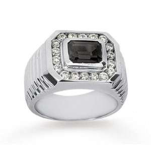 White Gold Grand Smoky Quartz 0.40 Carat Mens Diamond Ring Jewelry