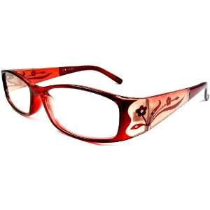 Reading Glasses +1.50 Womens Red Frame Flower Design on