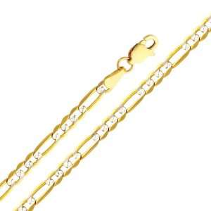14K Yellow and White 2 Two Tone Gold 3.1mm Figaro White Pave Chain