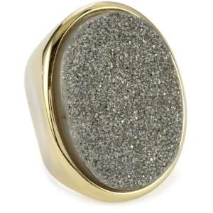 Moran Titanium Druzy Stone Oval 18k Gold Plated Ring, Size 6 Jewelry