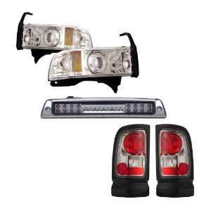 94 01 Dodge Ram Chrome CCFL Halo Projector Headlights + LED 3RD Brake