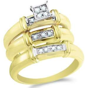 Size 6   10K Two Tone Gold Diamond Mens and Ladies His & Hers Trio 3