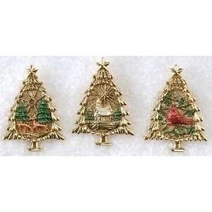 36 Holiday Christmas Trees with Winter Scene Pins 2.5
