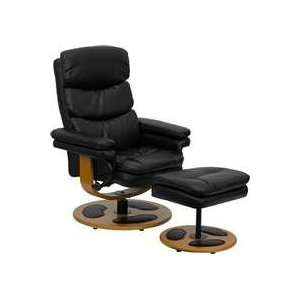 Flash Black Leather Recliner & Ottoman w/ Wood Base