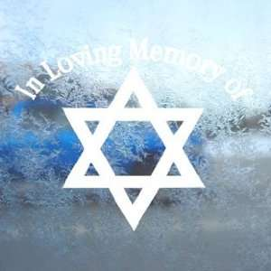 In Loving Memory Star David White Decal Window White
