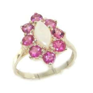 Luxury Ladies Solid White Gold Natural Opal & Pink Tourmaline Marquise