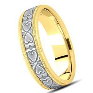 7.00 Millimeters 18Kt Two Tone Gold Wedding Band Ring