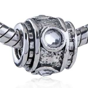 Pugster Pandora Style Bead Round And Heart Shaped Crystal Drum Plated