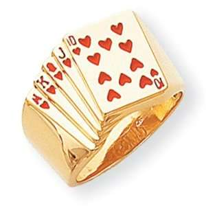 Royal Flush in Hearts Ring in 14k Yellow Gold Jewelry