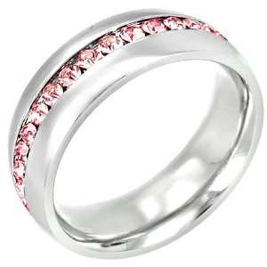 Channel Set Pink Cubic Zirconia Stainless Steel Ring   5 Jewelry