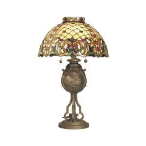 Dale Tiffany RT50107 Giovanni Table Lamp, Antique Bronze and Art Glass