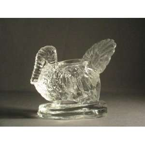 Crystal Clear Glass Turkey Toothpick Holder