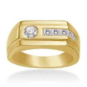 18K Yellow Gold Mens Diamond Ring Jewelry