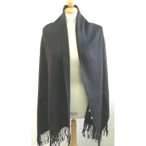 Shwal,Gorgeous Black with 2 Pockets Shawl 50% Cashmere + 50% Baby Lamb