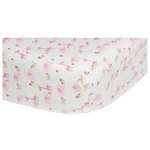 Carters Easy Fit Crib Sheet   Pink Jungle Baby
