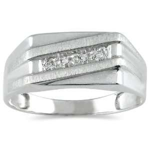 Mens Diamond Ring in 10K White Gold SZUL Jewelry