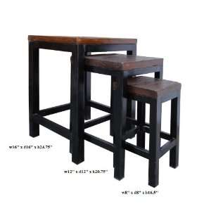 Raw Wood Metal Square 3 Net Table Set