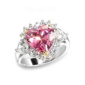 ES3106 Silver Tone Pink CZ Heart Ring Jewelry