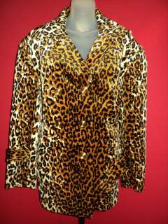 Exotic Animal Spotted Leopard Print Baby Soft Fur Vintage Coat XL 1X